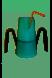 Groene drinkbeker met slokdosering RiJe Cup met een rietje en twee handvatten