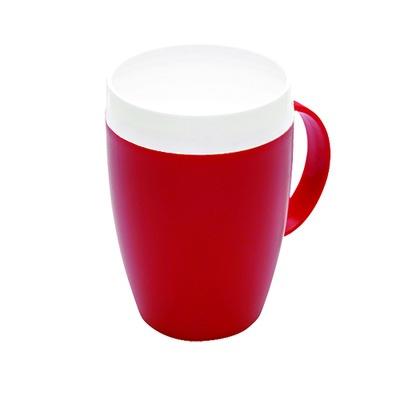 Open drinkbeker Conisch van Ornamin, rood met wit deksel en één handvat aan de zijkant