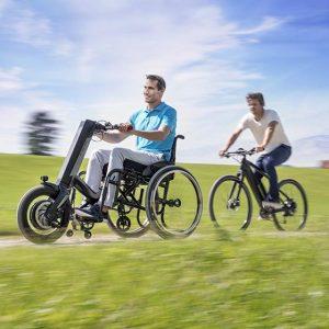 Elektrische handbike rolstoel E-Pilot van Alber gebruik