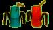 Groene en oranje drinkbeker met slokdosering RiJe Cup met een rietje en twee handvatten